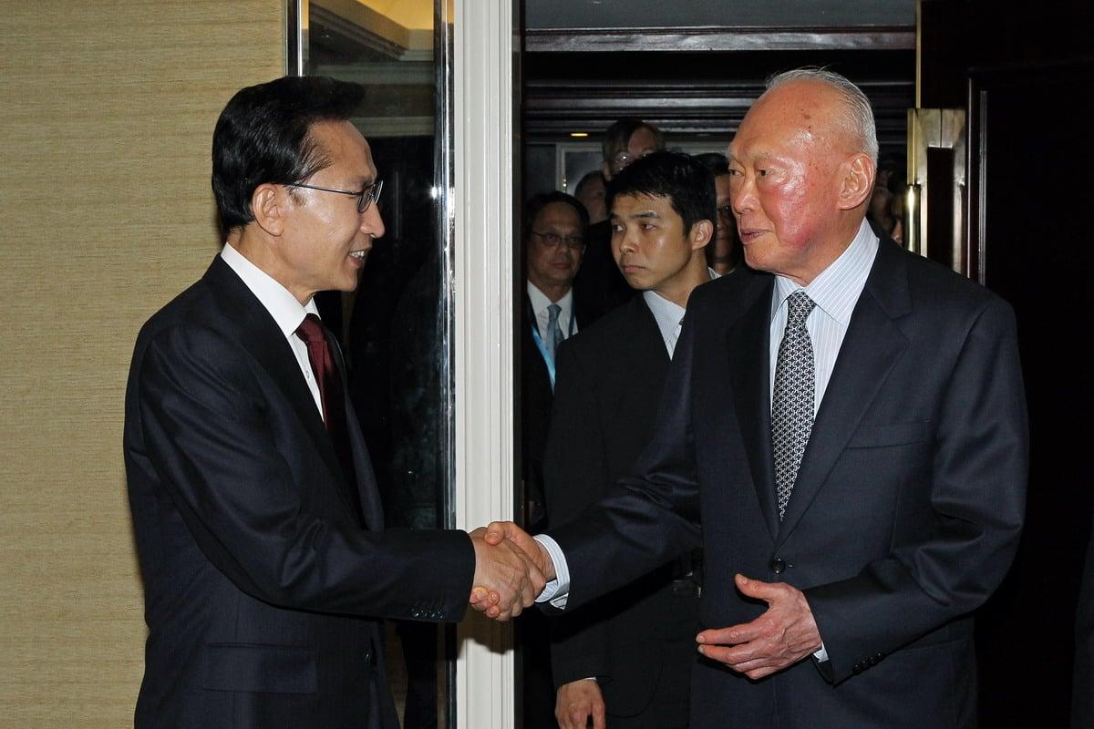 L'ancien Président sud-coréen Lee Myung-bak rencontre le Ministre Mentor Lee Kuan Yew