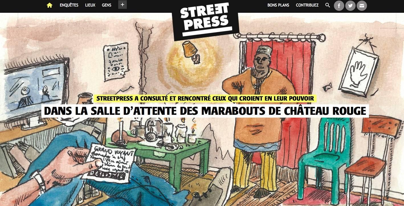 Capture d'écran de la page d'accueil de StreetPress - © StreetPress.com