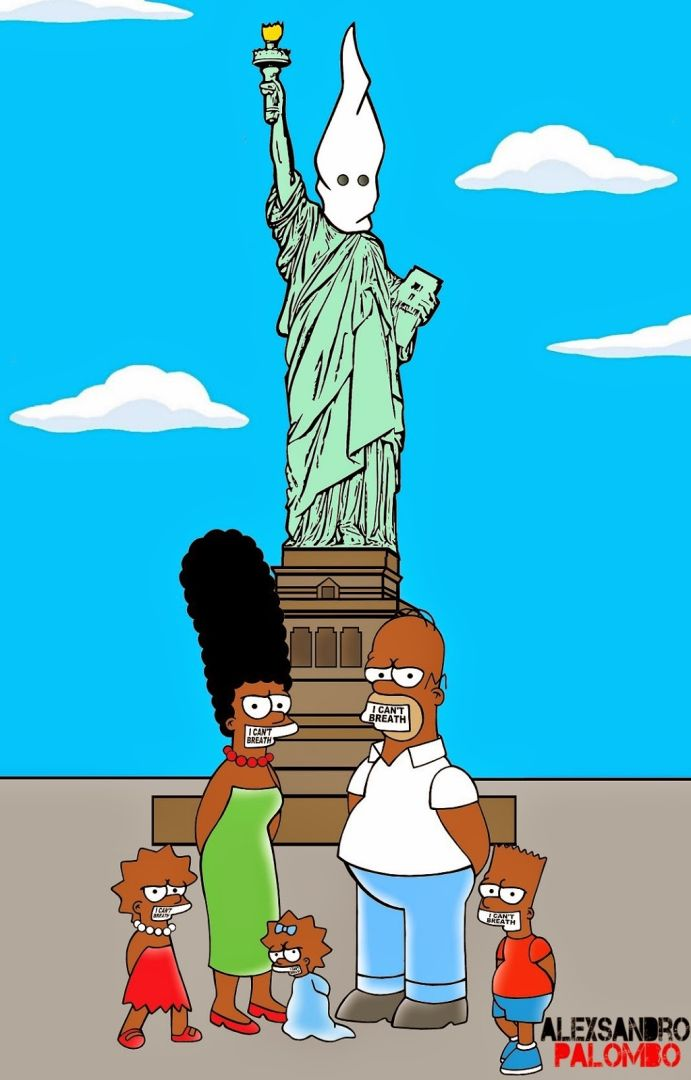 The-Simpsons-Black-Eric-Garner-Statue-of-Freedom-Homer-Simpson-Marge-Bart-Lisa-Clancy-Bill-De-Blasio-Police-Stop-Racism-2-691x1080