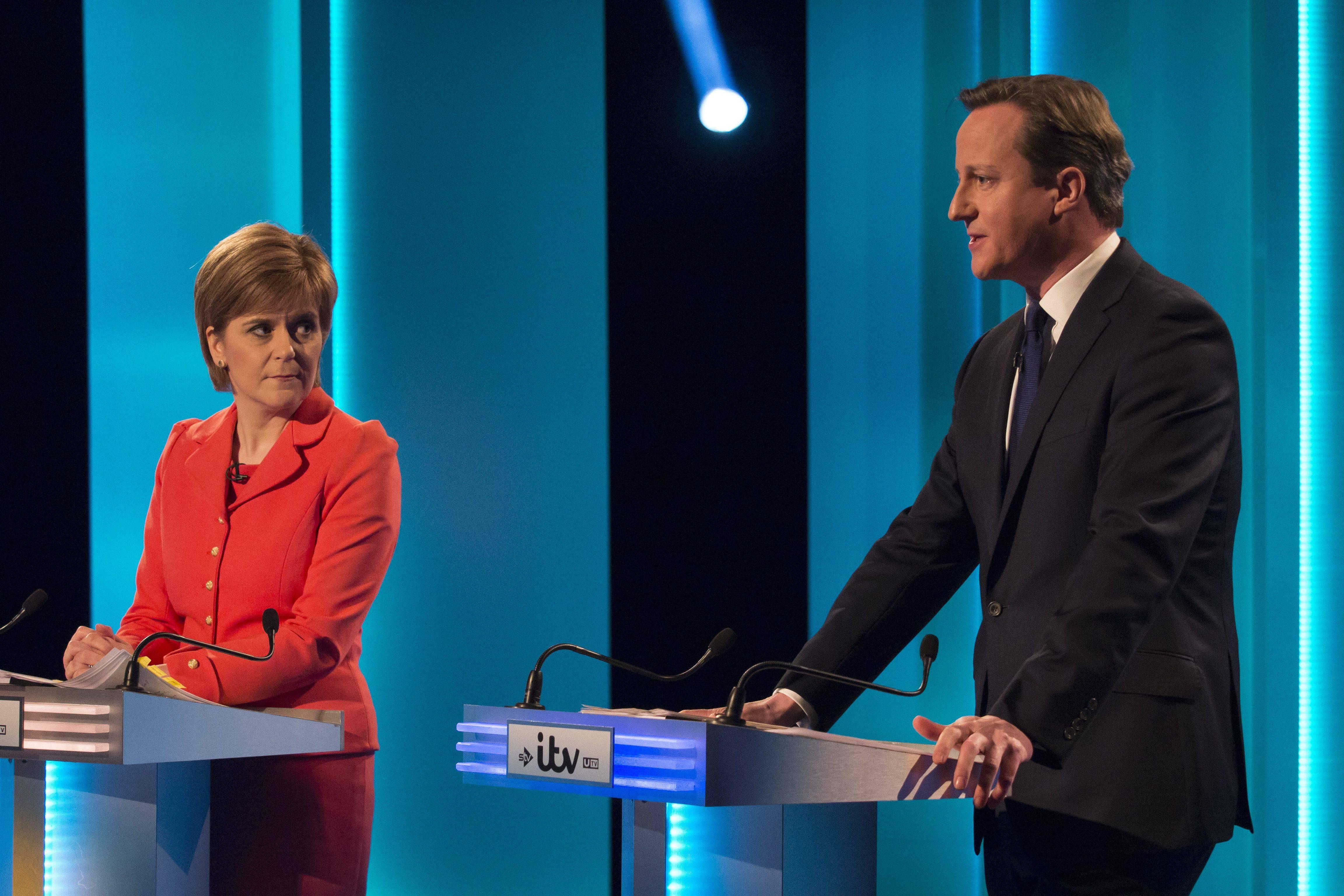 Nicola Sturgeon et David Cameron lors du débat télévisé à Salford, le 2 avril dernier. (Ken McKay/ITV)